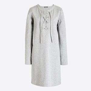 J Crew Heather Gray Lace Up Sweatshirt Dress Sz XS